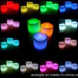 Conjunto de 3 velas verdaderas de la cera de parafina LED con el telecontrol multicolor 18