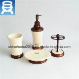 Plato de jabón del laminado de los accesorios de cobre amarillo del cuarto de baño/sostenedor de cerámica de lujo del jabón