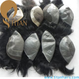 Top-quality Thin Skin Indian Remy Hair Toupee pour hommes