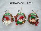 """9.5 """" венок украшения рождества h Санта, снеговика и эльфа, 3 Asst"""