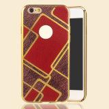 Caja de electrochapado de moda del grano del cuero de la relevación de TPU para el iPhone