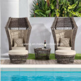 Novo design Outdoor Garden Furniture Synthetic Rattan Lover Chair com otomano e mesa de café (YT1053)