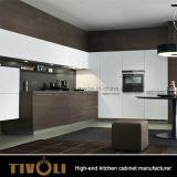 水晶と木のベニヤの食器棚を混合する流行の白いラッカーはTivo-0010Vを越える