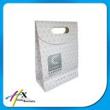 Saco branco do presente do papel de embalagem da impressão azul elegante