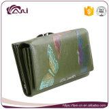 Бумажник женщин кожаный, бумажник муфты RFID, бабочка напечатал реальное портмоне кожи коровы