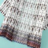 Camisa longa das mulheres do teste padrão da impressão da forma da luva