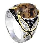 925 anelli di pietra naturali degli uomini dell'anello della micro pietra d'argento della regolazione