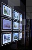Scatola luminosa di cristallo sottile del LED per il tabellone per le affissioni pubblicitario dell'agente immobiliare