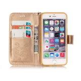 Accessoires boîtier de téléphone cellulaire gravant la caisse en relief de pochette de cuir d'or de guindineau pour l'iPhone 7 plus 6