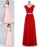 A - линия/платье Princess V-Шеи Пол-Длины Шифоновый Выпускного вечера при сборки отбортовывая Sequins