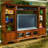 Module en bois solide moderne de TV avec l'étalage latéral (GSP13-001)