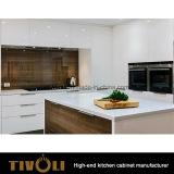 Лоск меда белый лакируя кухонные шкафы кухни с причудливый Backsplash Tivo-0245h