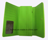Laser 디자인을%s 가진 PU 녹색 까만 관통되는 삼중 작풍 숙녀의 지갑