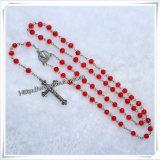 Rosario cattolico di colore luminoso, bello rosario della Rosa dei branelli, croce cattolica (IO-cr373)