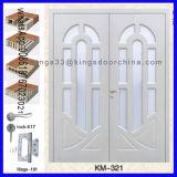 Puerta de madera principal del diseño del doble de la entrada