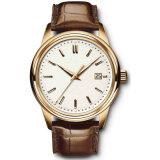 Edelstahl-Armbanduhr Customed Firmenzeichen-Quarz Watch72037 der ledernen Armband-Männer