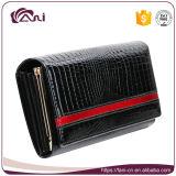 Портмон повелительниц муфты бумажника женщин способа бумажник крокодиловой кожи кожаный черный