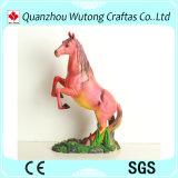 Estatua roja hecha a mano del caballo de la resina de la decoración casera