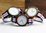 De quartzo novo da faixa da OTAN de 2017 relógio de madeira relógios dos esportes para a mulher do homem