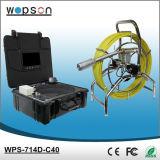 Sistema da câmera do esgoto da cor de Wopson com o auto que nivela a câmera e o fio do impulso de 60m