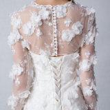 Vestido de casamento transparente das luvas do barco da sereia com flores