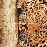 il leopardo Pigment&Disperse di 100%Polyester 3D ha stampato il tessuto per l'insieme dell'assestamento