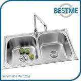 De Sanitaire Gootsteen van uitstekende kwaliteit van de Keuken van de Gootsteen van de Kom van Waren (BS-8007)