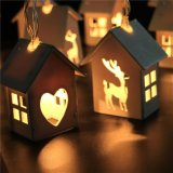 Haus-Form-Zeichenkette beleuchtet den flexiblen silbernen batteriebetriebenen Draht imprägniern Entwurfs-warmes Weiß