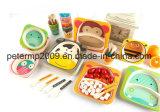 Vaisselle en bambou de grand dos biodégradable de 5 paquets, jeux en bambou de vaisselle de vaisselle de fibre d'enfant