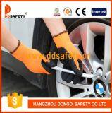 Leuchtstoff schwarzer Latex-Sicherheits-Nylonhandschuh Dnl415