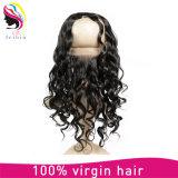 Fermeture brésilienne de vente chaude de frontal de lacet des cheveux humains 360 de Remy de mode