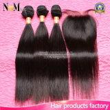 1 закрытие шнурка PC с волосами девственницы пачек 3PCS малайзийский прямо, 3 волосы девственницы закрытия 4*4 шнурка части малайзийские, естественная чернота