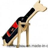 Support en bois de vin de seule forme animale pour la crémaillère de mémoire de vin