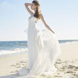 Estilo novo A - linha vestido Wedding plissado do destino das cintas de espaguete
