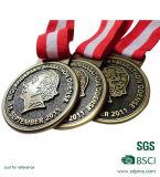 De goedkope Antieke Medaille van het Brons met Rood en Wit Lint (w-65)