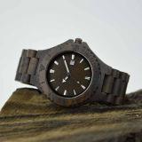 Het aangepaste Houten Horloge van het Sandelhout van het Roestvrij staal Zwarte