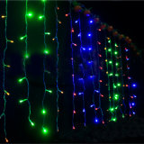 China de 6 * 3 m 600LED cortina de luz Ancho 25LED / gota Cadena total 24PCS Cuerdas de Navidad al aire libre / Partido Uso