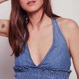 Camicetta sottile sexy della maglia della fasciatura della parte superiore di arresto del denim del V-Collo delle donne di modo