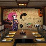 Mural japonés del papel pintado de la cocina del café de la barra de bocado del contexto del restaurante del sushi