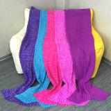 Coperta del sofà della coda della sirena di disegno dello squalo del Crochet