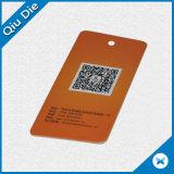 Étiquette faite sur commande de coup de papier d'imprimerie de qualité supérieur de poche de trou pour le vêtement