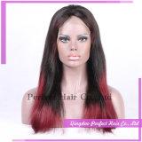 Perucas dianteiras cheias baixas de seda vermelhas do laço do cabelo humano