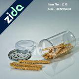 Tarro plástico claro 650ml, alimento plástico transparente del tarro, tarro plástico del caramelo del animal doméstico con el tapón de tuerca