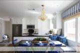 Gabinetes de cozinha brancos do estilo do abanador da madeira contínua (WH-D289)