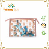 WomensのためのClear防水PVC Polka Dots Cosmetic Toiletry Organizer