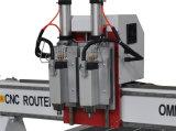 세륨 Cetificate를 가진 기계장치를 새기는 두 배 스핀들 CNC 나무