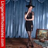 Costume profondo di Cosplay del vestito operato dalla strega del V-Collo del vestito da partito di Halloween delle donne