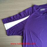 Sprots, luva de Raglan curta, rapidamente seca, malha, t-shirt do engranzamento de Wicking