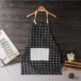 Baumwoll-und Leinen-Plaid-Küche-Schutzblech für das Kochen mit Tasche