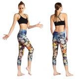 250のGSMの高品質のゆがみ編むポリエステルElastaneによって印刷される適性の女性Legging